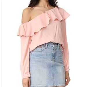 Minkpink long sleeve one shoulder top.